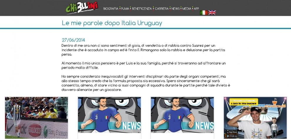"""Brasile 2014, Chiellini """"perdona"""" Suarez: il messaggio"""
