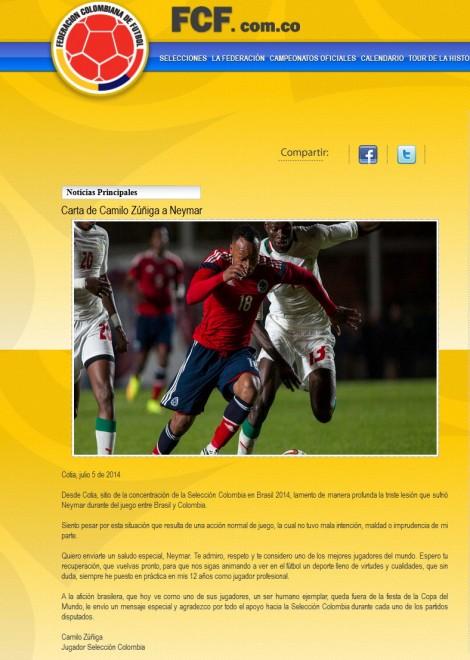 """""""Caro Neymar, mi dispiace"""": Zuniga si scusa con una lettera"""