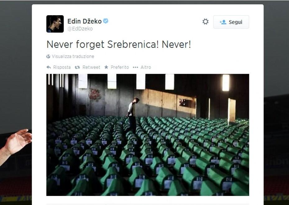 """Dzeko: """"Non dimenticare mai Srebrenica"""""""
