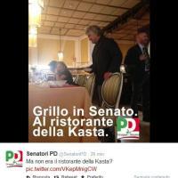 Grillo al ristorante del Senato, il Pd lo prende in giro