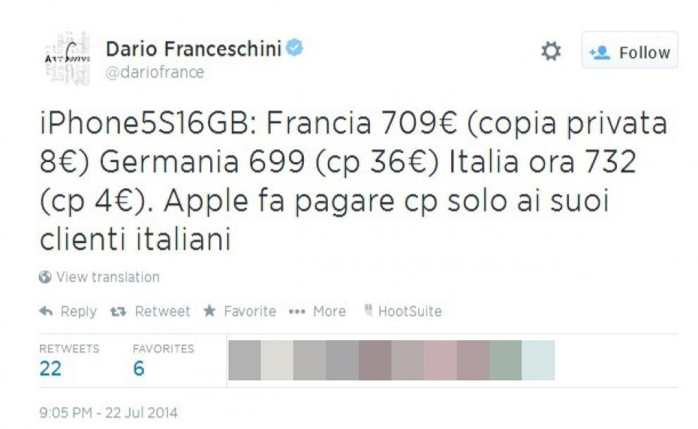 Copia privata, Apple aumenta i prezzi. Ministro Franceschini protesta