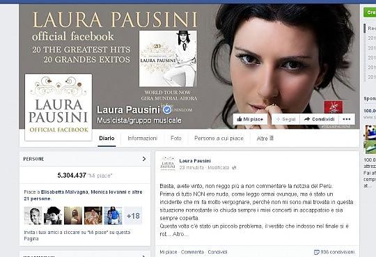 """Laura Pausini e lo """"scandalo"""" sul palco: """"Un incidente che mi fa vergognare"""""""
