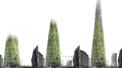 """Grattacieli costruiti con rifiuti riciclati e giardini social """"emotivi""""   foto"""