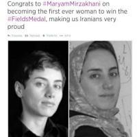 Medaglia Fields, tweet di Rouhani con le foto di Mirzakhani senza velo