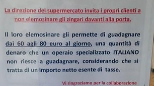 """L'avviso: """"Non date soldi ai rom guadagnano più di un operaio"""""""