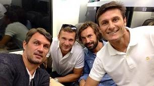 Maldini, Shevchenko, Pirlo, Zanetti Selfie in treno per Papa Francesco