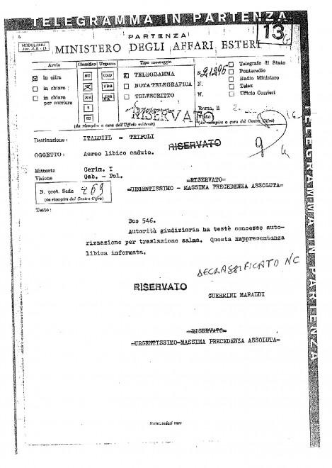 Ustica, l'Italia cede alle richieste libiche