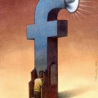 """Facebook nella vita quotidiana: la """"effe"""" blu diventa un disegno surreale"""