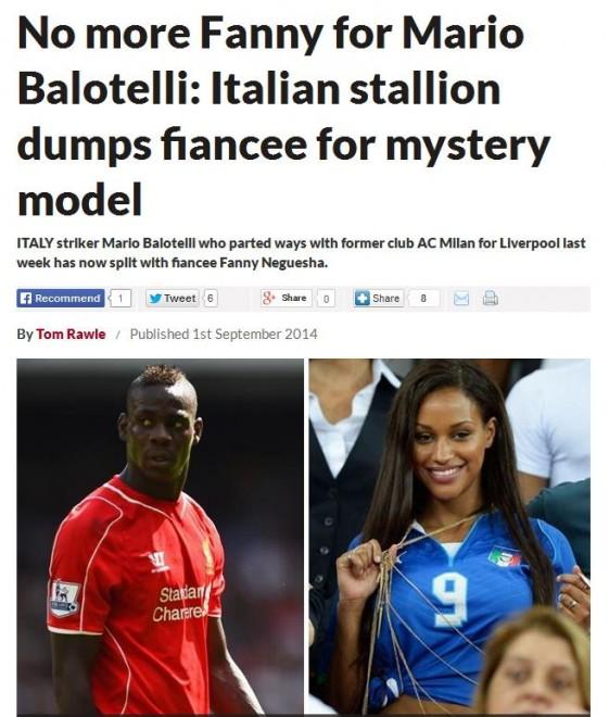 Lo scoop dei tabloid inglesi: Balotelli ha mollato Fanny
