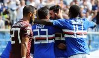 Gabbiadini più Okaka    foto / I gol    La Samp stende il Torino