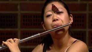 Il bacio della farfalla alla flautista in concerto