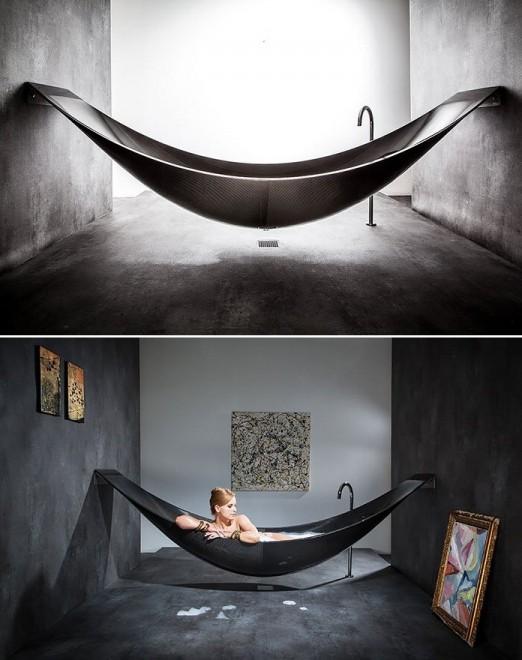 Dalla vasca amaca al tappeto di prato il design entra in for 3 4 layout del bagno