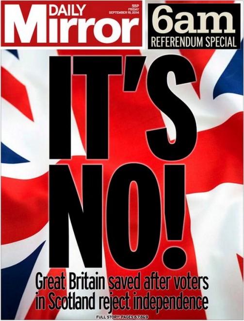 Scozia, vince il no: le prime pagine dei giornali