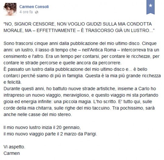 Carmen Consoli, un messaggio per annunciare il ritorno
