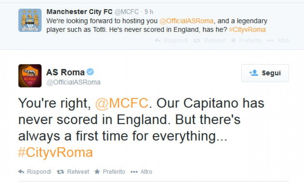 "Manchester City, ""l'infortunio"" su twitter"