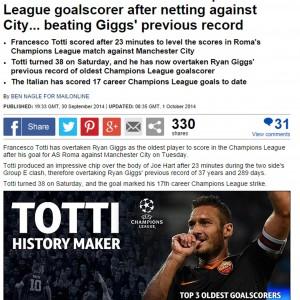 """Champions, l'Inghilterra esalta Totti: """"The Italian Legend"""""""