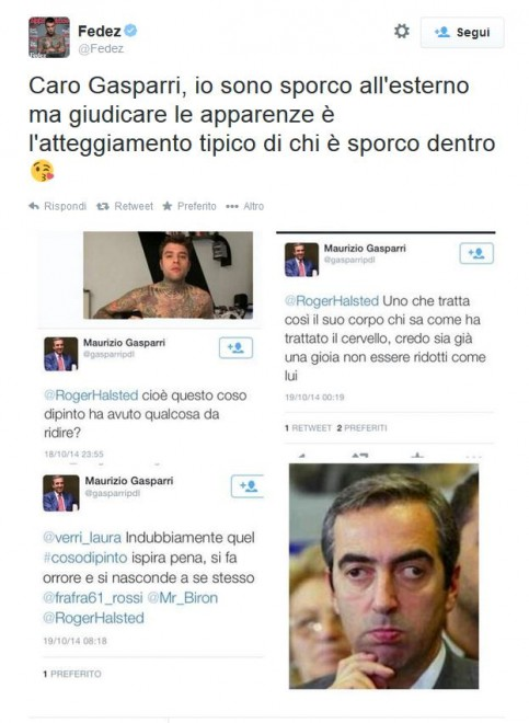 "Twitter, Gasparri contro fan minorenne di Fedez: ""Più dieta, messa male"""