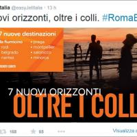 Twitter, EasyJet deride la Roma: ''Sette nuovi orizzonti, oltre i colli''