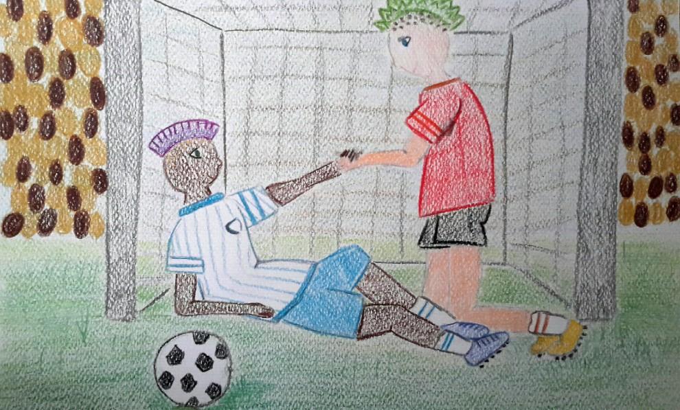 Il calcio che vorrebbero: i disegni degli alunni per raccontare Napoli-Roma