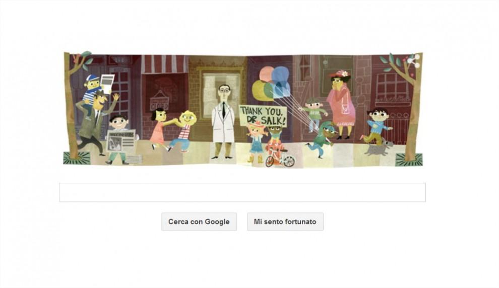 100° anniversario della nascita di Jonas Salk: il doodle di Google