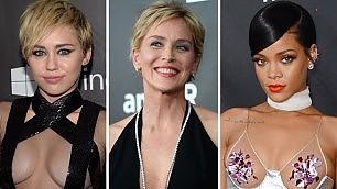 Miley, Rihanna, Sharon nude look per beneficenza    foto  Selfie, la serata delle star