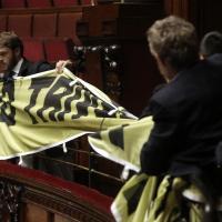 Sblocca Italia: la protesta di Greenpeace dalle tribune del pubblico