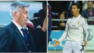Ancelotti prende in giro Ronaldo imitando l'esultanza in panchina