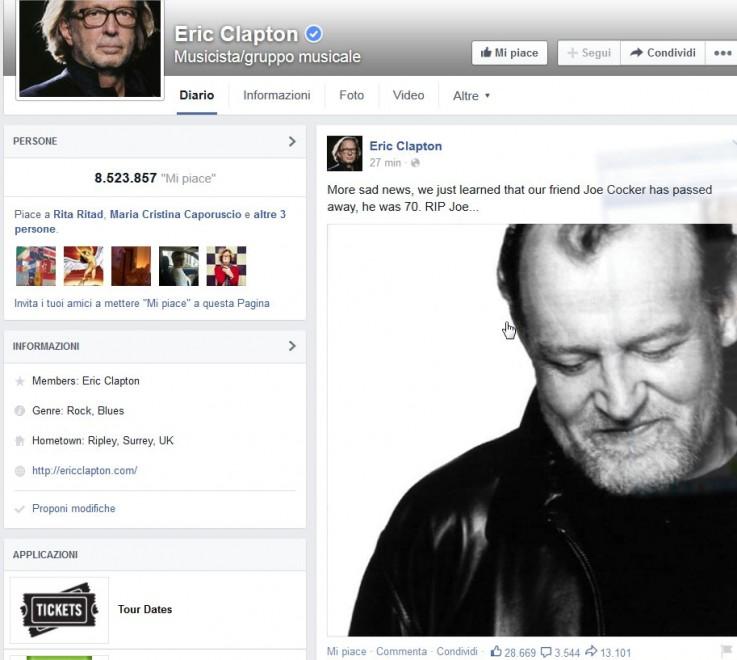 """Joe Cocker: """"La notizia più triste, RIP Joe"""", il cordoglio di Clapton su Fb"""