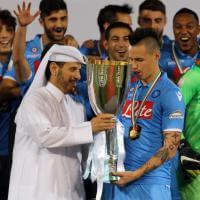 Supercoppa al Napoli, la festa in campo