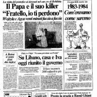 Nelle prime pagine di Repubblica l'incontro tra Giovanni Paolo II e Agca e l'attentato al Papa