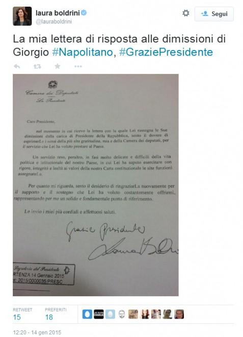 La risposta della Boldrini alla lettera di Napolitano