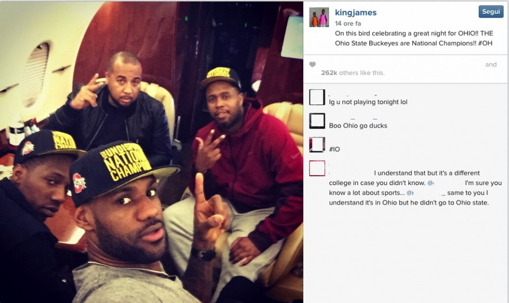 Football college: i tweet e i post di LeBron James, il match sui social
