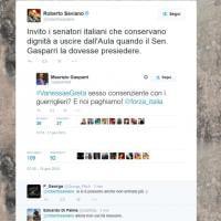"Saviano: ""Quando parla Gasparri uscite dall'aula"""