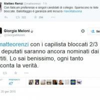 Renzi-Meloni, botta e risposta su Twitter sulla legge elettorale