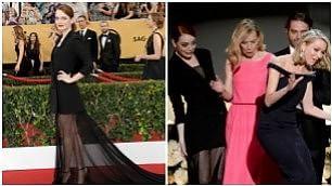 Ops, lo strascico è fatale    video    Emma Stone fa inciampare Naomi
