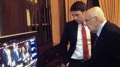"""Renzi: """"Buon lavoro, viva l'Italia"""" Napolitano: """"Salto di qualità politico"""""""