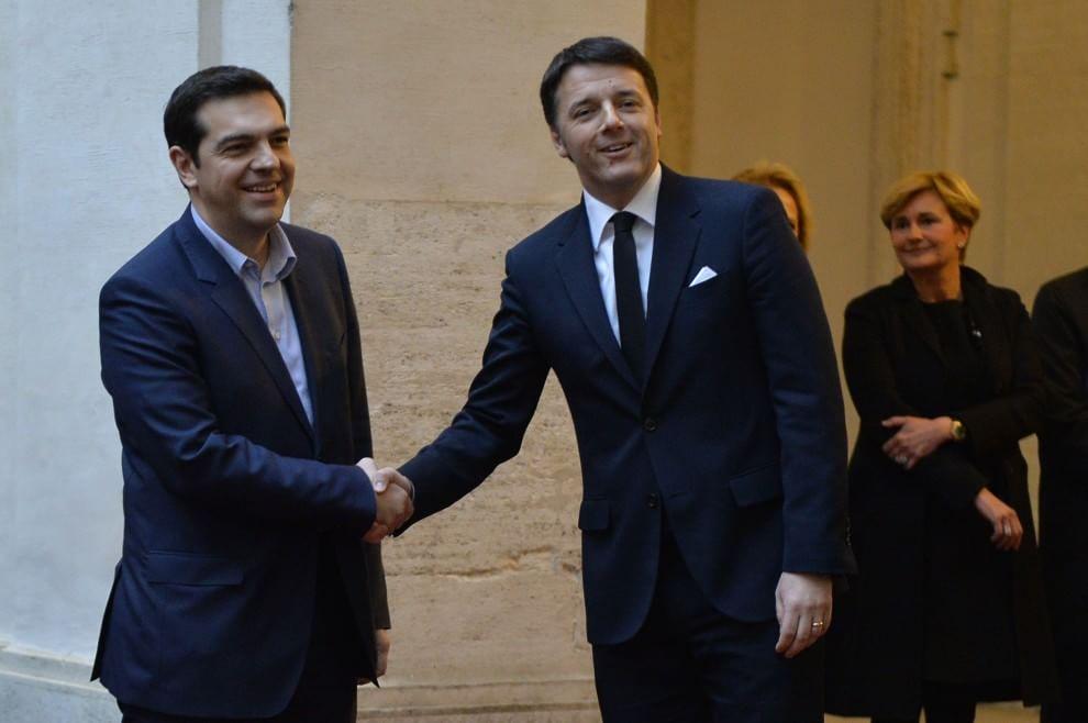 Renzi riceve Tsipras a Palazzo Chigi