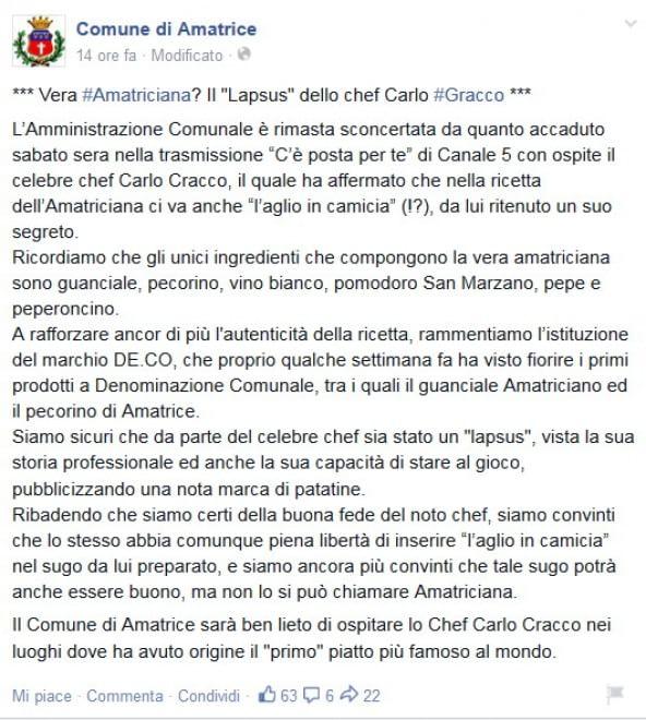 La guerra dell'aglio, Amatrice contro Carlo Cracco: ''Nell'amatriciana non va''