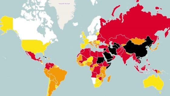 Libertà di stampa, Italia arretra di 24 posizioni nel 2014. In aumento minacce mafiose e cause ingiustificate