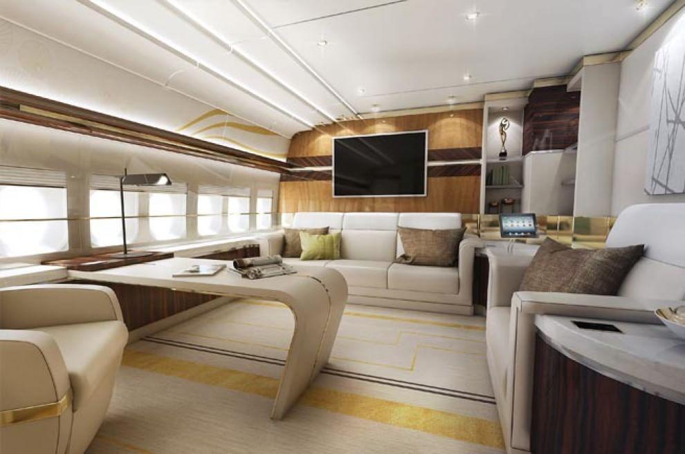 el avion como un yate decoraci n de lujo para un boeing 747 8 vip. Black Bedroom Furniture Sets. Home Design Ideas