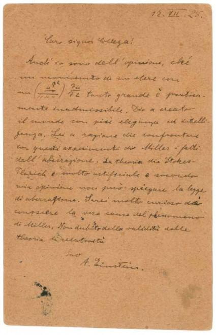 """Lettera Einstein in italiano all'asta: """"Caro signor collega..."""""""