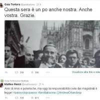 """Tweet e retweet tra Renzi e Gaia Tortora: """"Grazie. Questa sera è un po' anche nostra"""""""