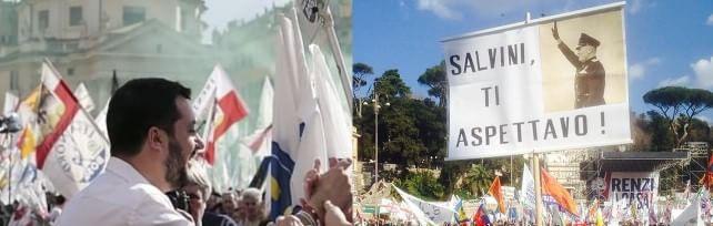 Lega-CasaPound in piazza, antirazzisti contro. Salvini: Da qui la sfida per conquistare il Paese