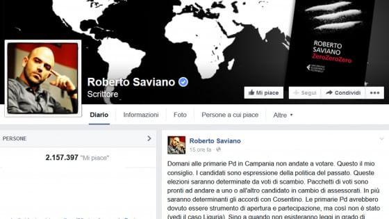 """Saviano, primarie in Campania: """"Dico no, basta clientele"""""""