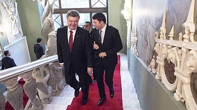 """Renzi a Kiev, colloquio con Poroshenko  """"Rispettare sovranità dell'Ucraina""""   video"""