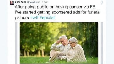 Scopre di avere un cancro, su Facebook trova la pubblicità delle pompe funebri