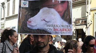 Flashmob ''Pasqua senza crudeltà''  foto  animalisti in piazza per gli agnellini