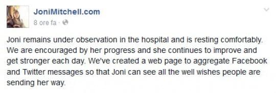 Joni Mitchell, dopo il malore migliorano le sue condizioni