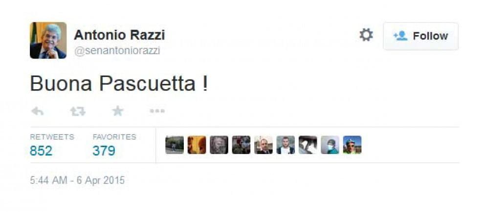 Twitter, gli auguri con errore di Antonio Razzi: ''Buona Pascuetta''