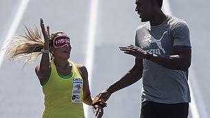 Il sogno dell'atleta non vedente  50 mt. mano nella mano con Bolt
